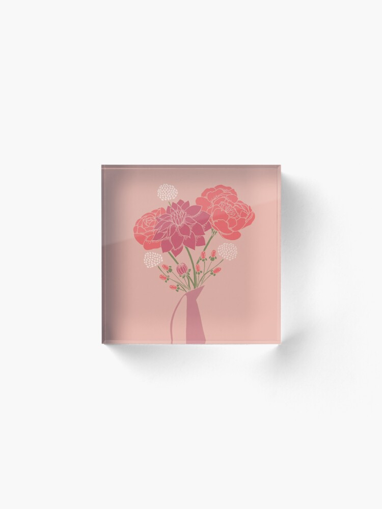 Alternate view of Pink Flower Bouquet in a Vase Acrylic Block