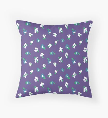 Ultra Violet Background with Small Robins Egg Blue Flower Retro Pattern Throw Pillow