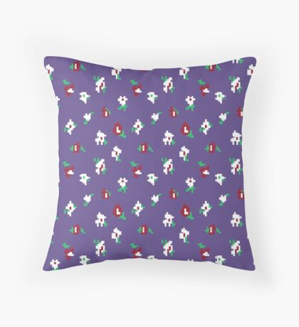 Ultra Violet Background with Small Red Flower Retro Pattern Throw Pillow