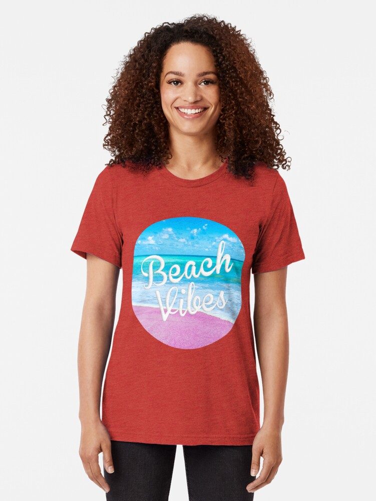 Alternate view of Pink Beach Vibes Tri-blend T-Shirt