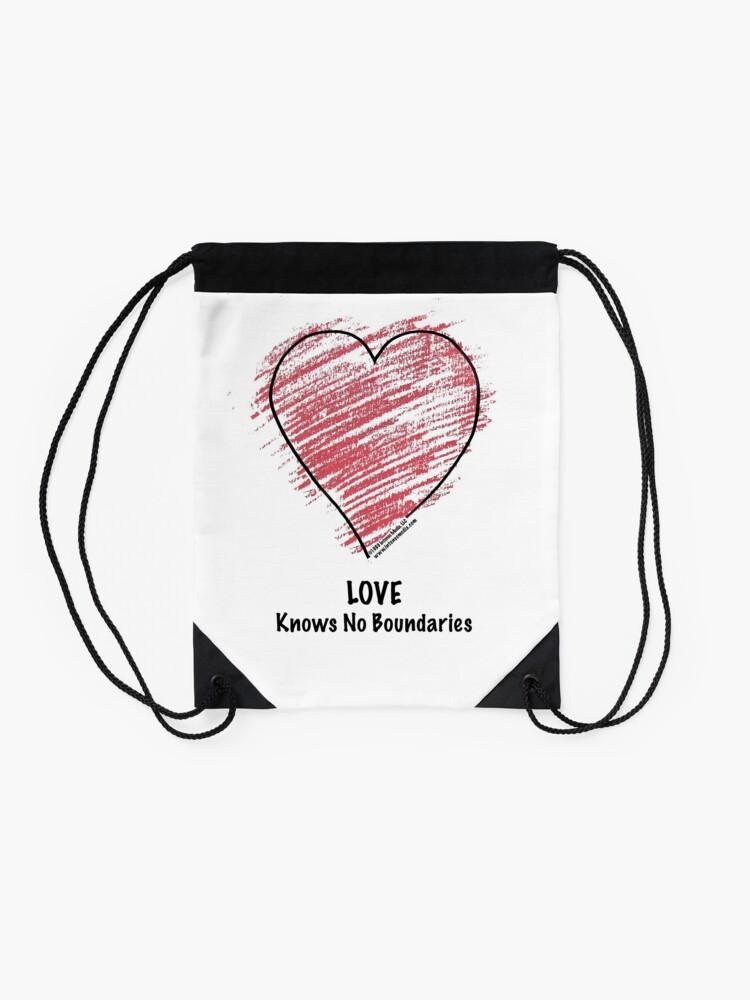 Alternate view of LOVE Knows No Boundaries Drawstring Bag