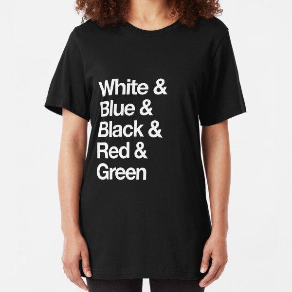 White & Blue & Black & Red & Green - Reversed Slim Fit T-Shirt