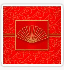 Chinese New Year in Swirls of Gold and Traditional Red  Sticker