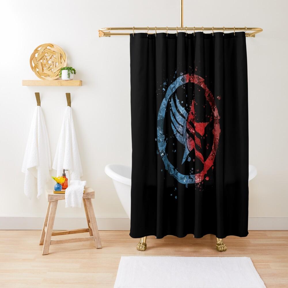 Mass Effect Renegade/Paragon Combo Splatter Shower Curtain