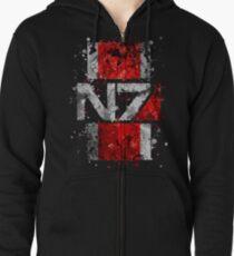 Mass Effect N7 Splatter  Zipped Hoodie