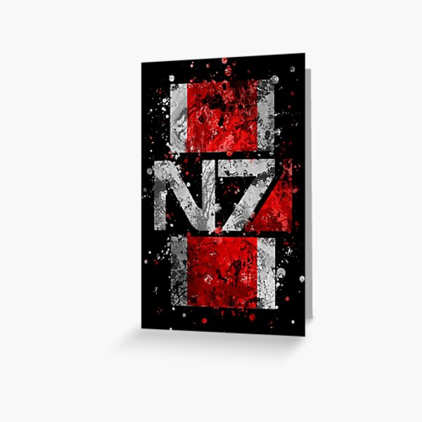 Mass Effect N7 Splatter  Greeting Card