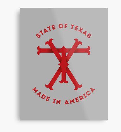 TX Texas Monogram Red Metal Print