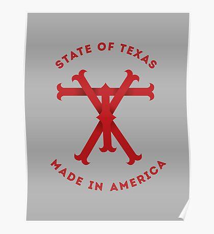 TX Texas Monogram Red Poster