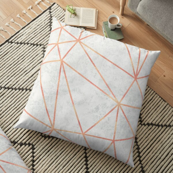 Marble Geometric Rose Gold Design Floor Pillow