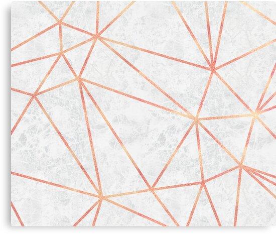 """""""Marmor Geometrische Rose Gold Design"""" Leinwanddruck von"""