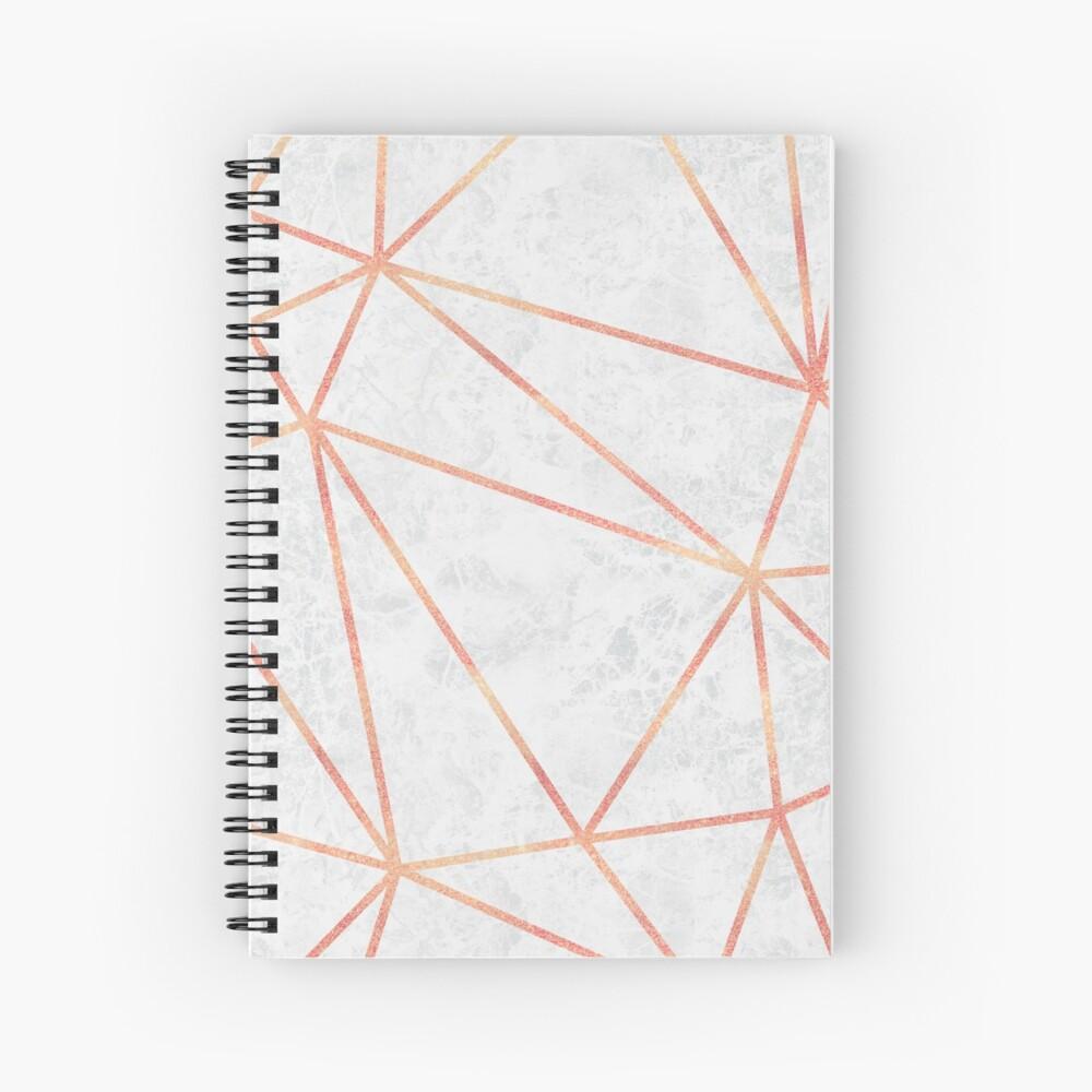 Marble Geometric Rose Gold Design Spiral Notebook
