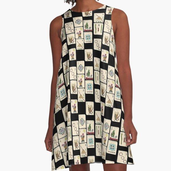 Mahjong Majong Black Tile Pattern A-Line Dress