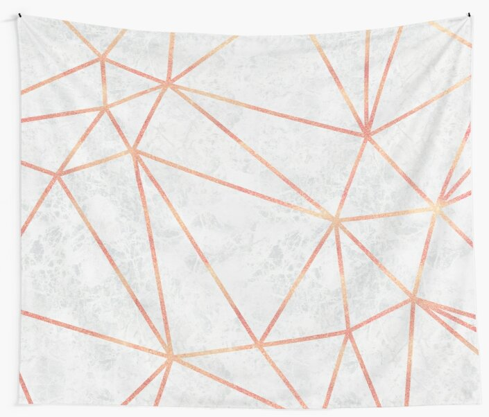 Quot Marble Geometric Rose Gold Design Quot Wall Tapestries By