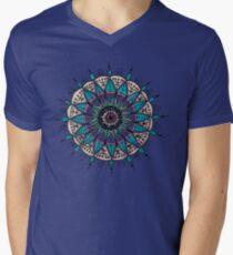 Blue, pink and green mandala flower Men's V-Neck T-Shirt