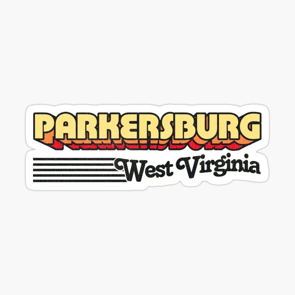 Parkersburg, West Virginia   Retro Stripes Sticker