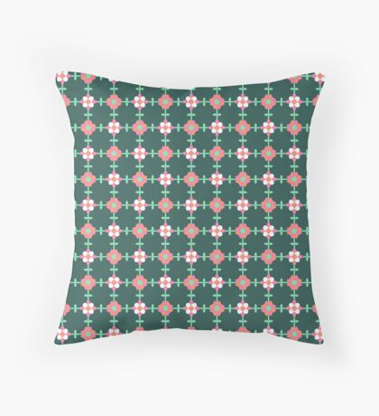 Pink, White and Green Flowers on Forest Green Geometric Flower Retro Pattern Throw Pillow