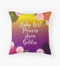 Floral Garden Baby Girl Princess Queen Goddess Typography Floor Pillow