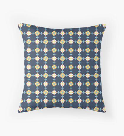 Yellow, Orange, White and Blue on Navy Blue Geometric Flower Retro Pattern Throw Pillow