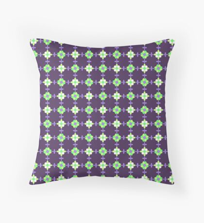 Green, Yellow, White and Ultra Violet on Dark Purple Geometric Flower Retro Pattern Throw Pillow