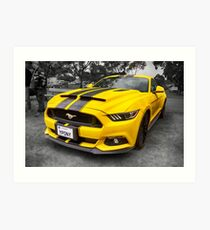 Yellow Ford Mustang  Art Print