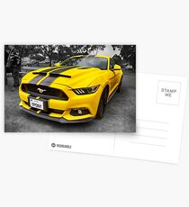 Yellow Ford Mustang  Postcards