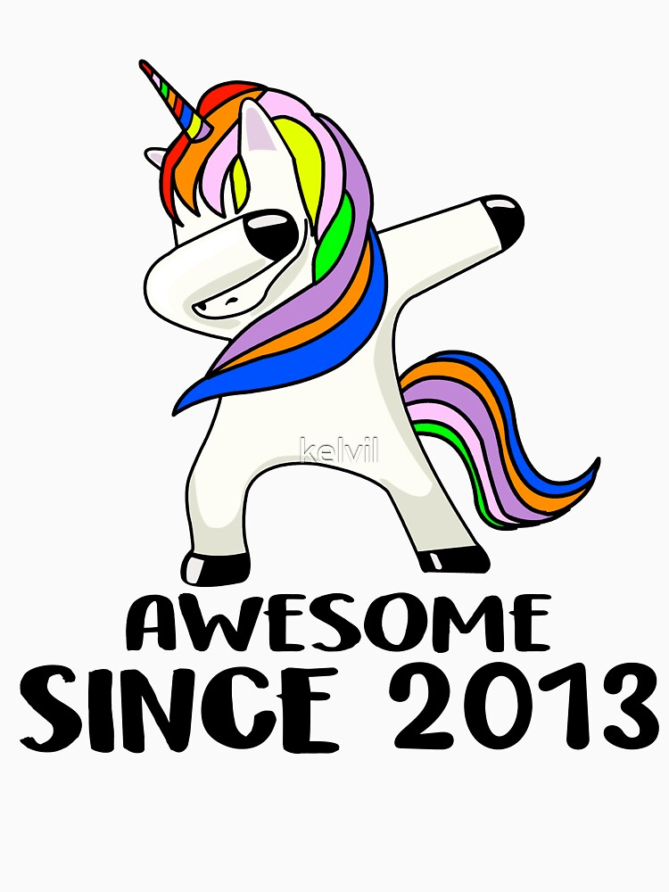 Kids Awesome Since 2013 5 Years Old 5th Birthday Unicorn T Shirt By Kelvil