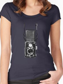 Classic Retro Rolleiflex Twin Lens Reflex Film Camera Women's Fitted Scoop T-Shirt