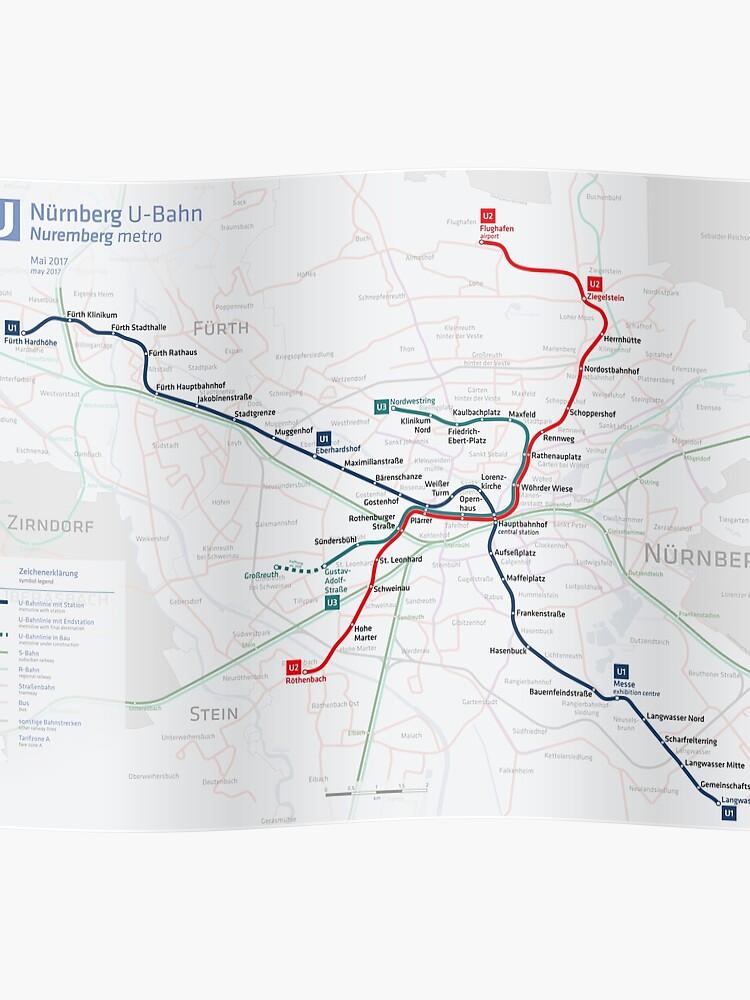 Map Of Zirndorf Germany.Nuremberg U Bahn Map Germany Poster