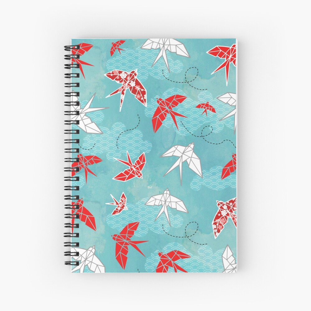 Origami Swallow Spiral Notebook