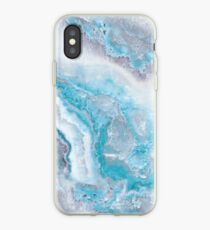 Luxury Mermaid Blue Agate Marble Geode Gem iPhone Case