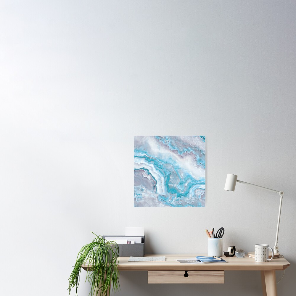 Luxury Mermaid Blue Agate Marble Geode Gem Poster