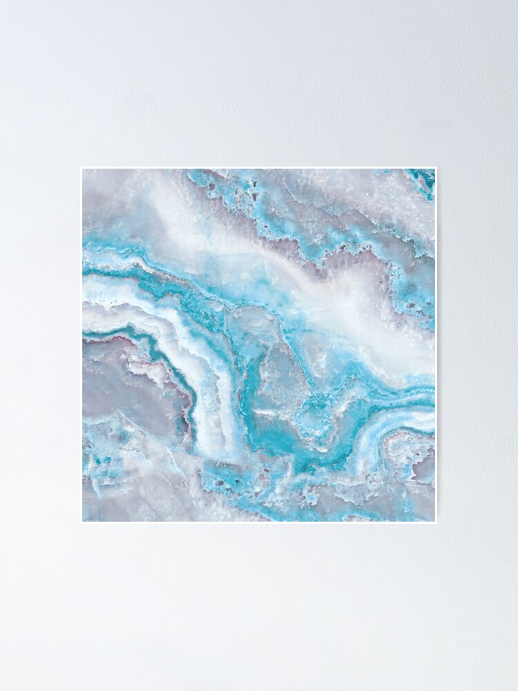 Alternate view of Luxury Mermaid Blue Agate Marble Geode Gem Poster