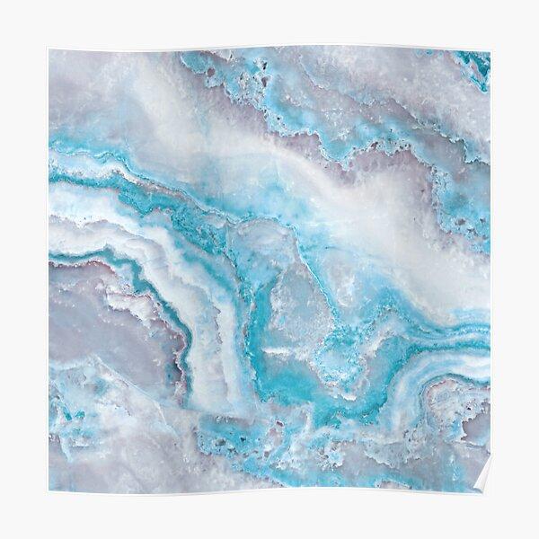 Luxury Mermaid Blue Agate Marble Geode Gem Poster