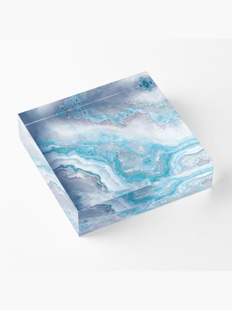 Alternate view of Luxury Mermaid Blue Agate Marble Geode Gem Acrylic Block