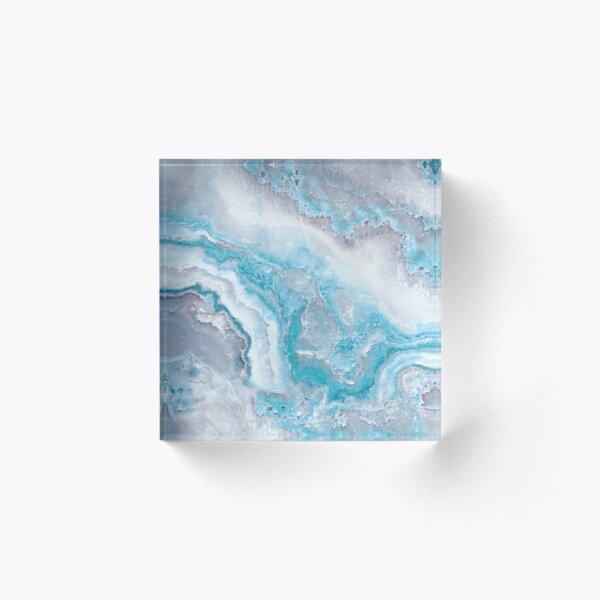 Luxury Mermaid Blue Agate Marble Geode Gem Acrylic Block