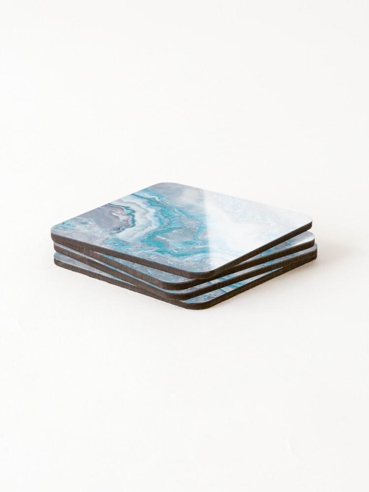 Alternate view of Luxury Mermaid Blue Agate Marble Geode Gem Coasters (Set of 4)