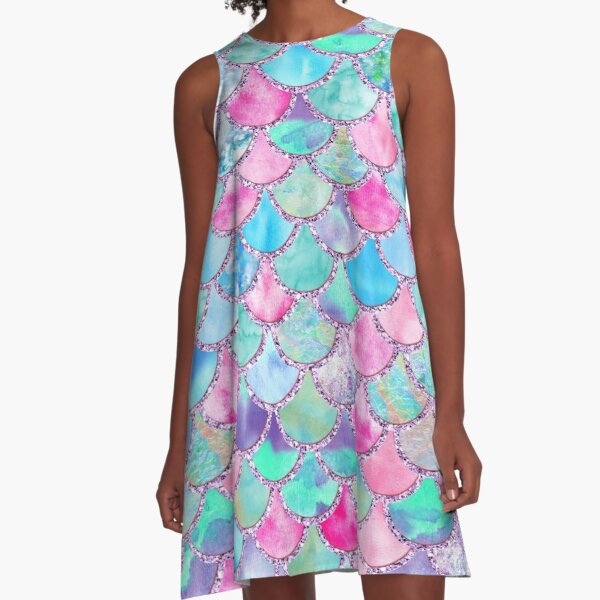 Pink and Blue Watercolor Faux Glitter Mermaid Scales A-Line Dress