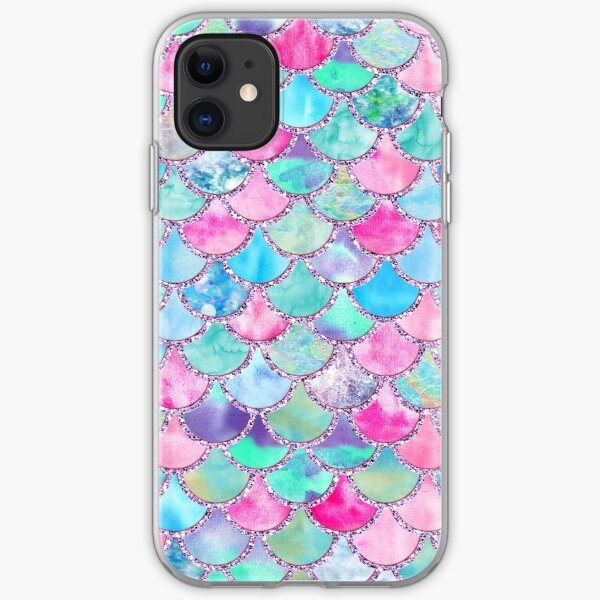 Pink and Blue Watercolor Faux Glitter Mermaid Scales iPhone Soft Case