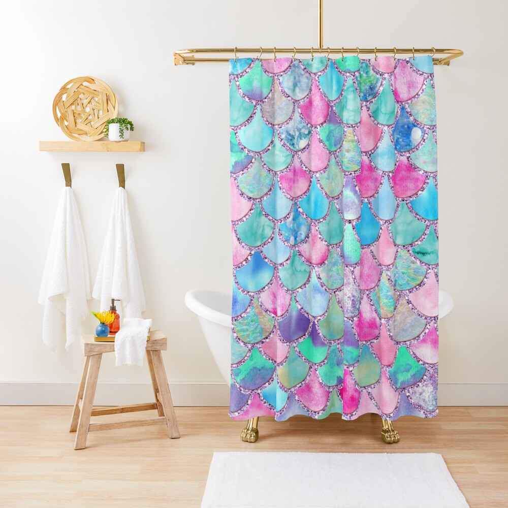 Pink and Blue Watercolor Faux Glitter Mermaid Scales Shower Curtain