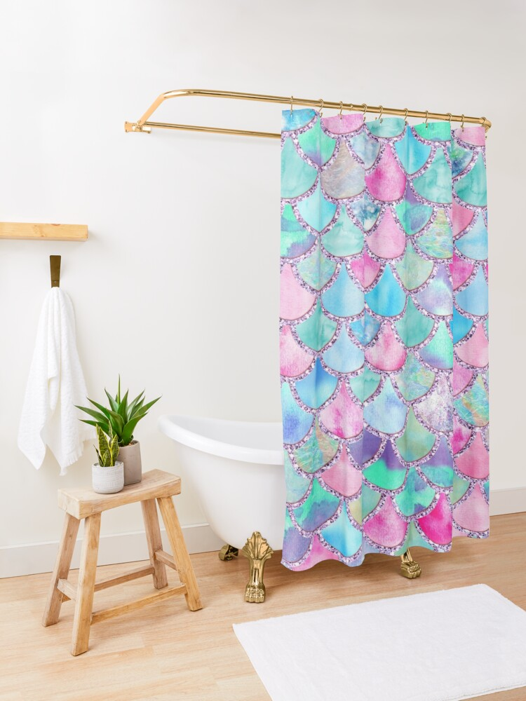 Alternate view of Pink and Blue Watercolor Faux Glitter Mermaid Scales Shower Curtain