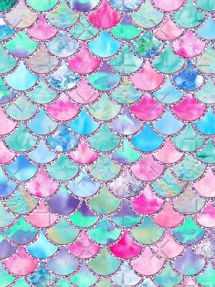 Pink and Blue Watercolor Faux Glitter Mermaid Scales by UtArt