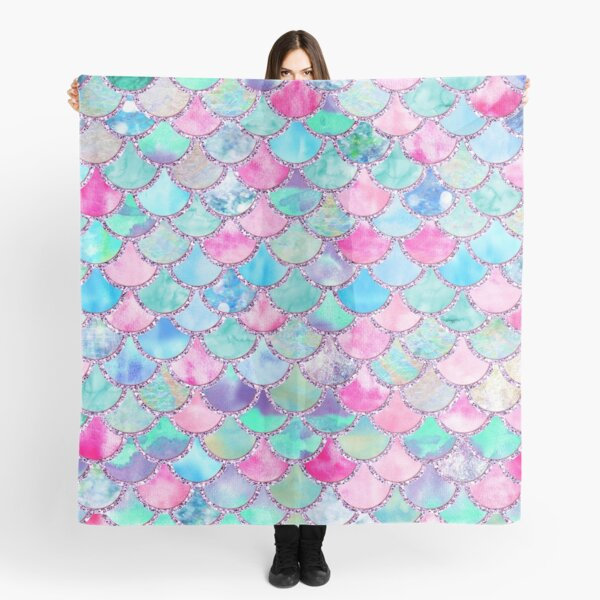 Pink and Blue Watercolor Faux Glitter Mermaid Scales Scarf