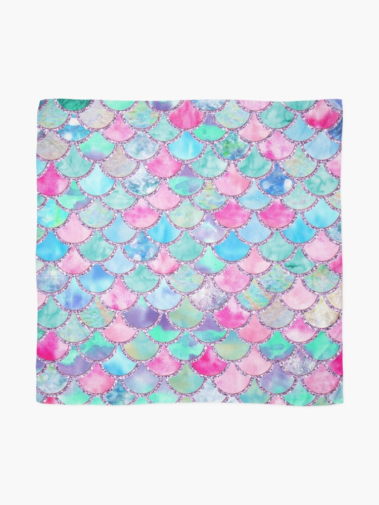 Alternate view of Pink and Blue Watercolor Faux Glitter Mermaid Scales Scarf