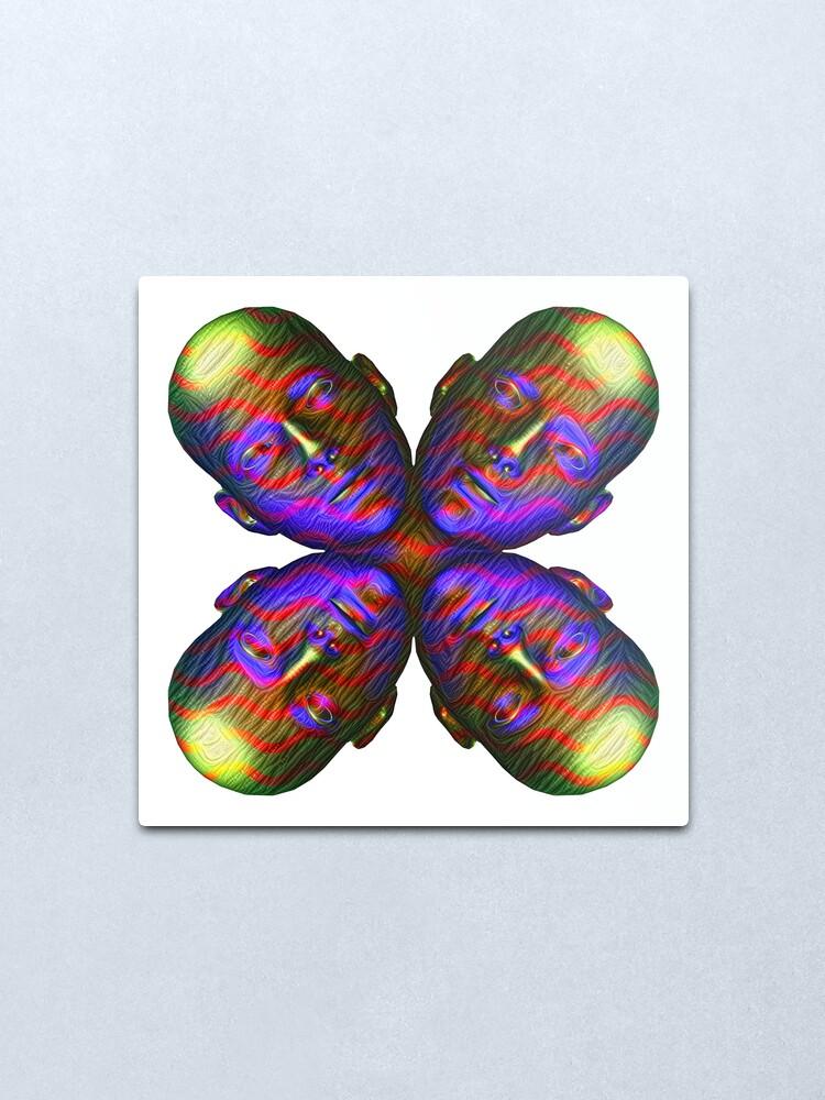 Alternate view of #DeepDream Masks - Heads - Butterfly 5x5K v1455803831 Metal Print