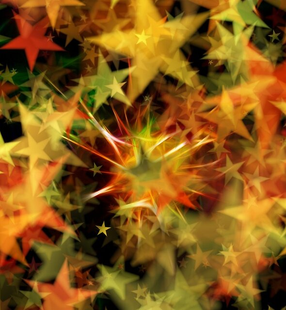 Yellow Red and Green blurred stars by PRODUCTPICS