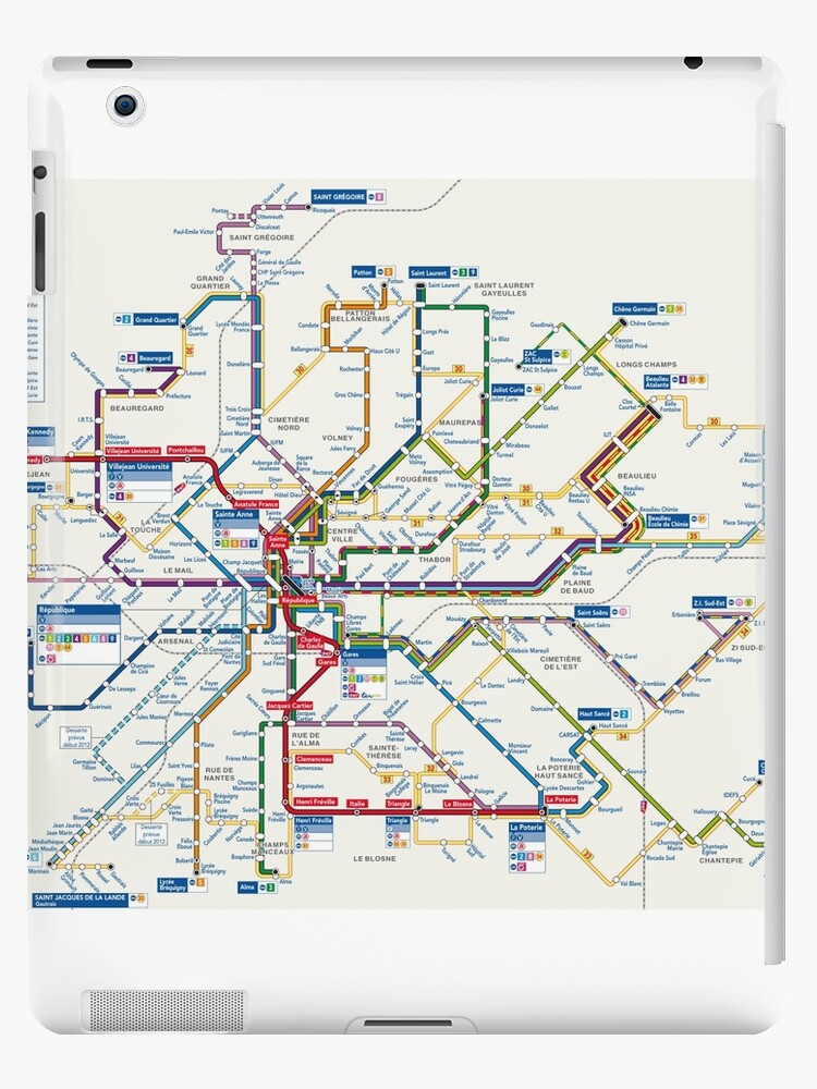 Rennes Metro Map France Ipad Cases Skins By Superfunky Redbubble