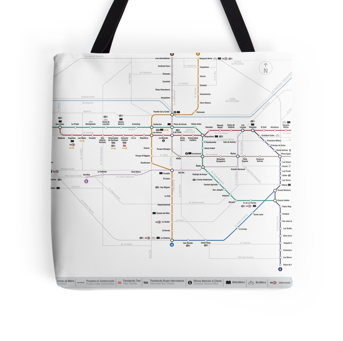 Subway Map In Chile.Santiago Metro Map Chile Tote Bag By Superfunky