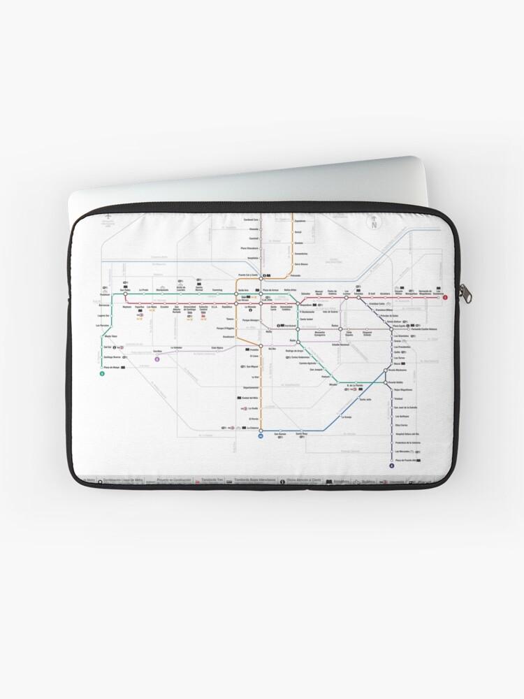 Santiago Subway Map.Santiago Metro Map Chile Laptop Sleeve