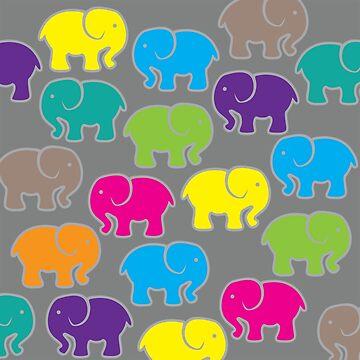 Baby Elephants - Multicolor & Grey by annumar