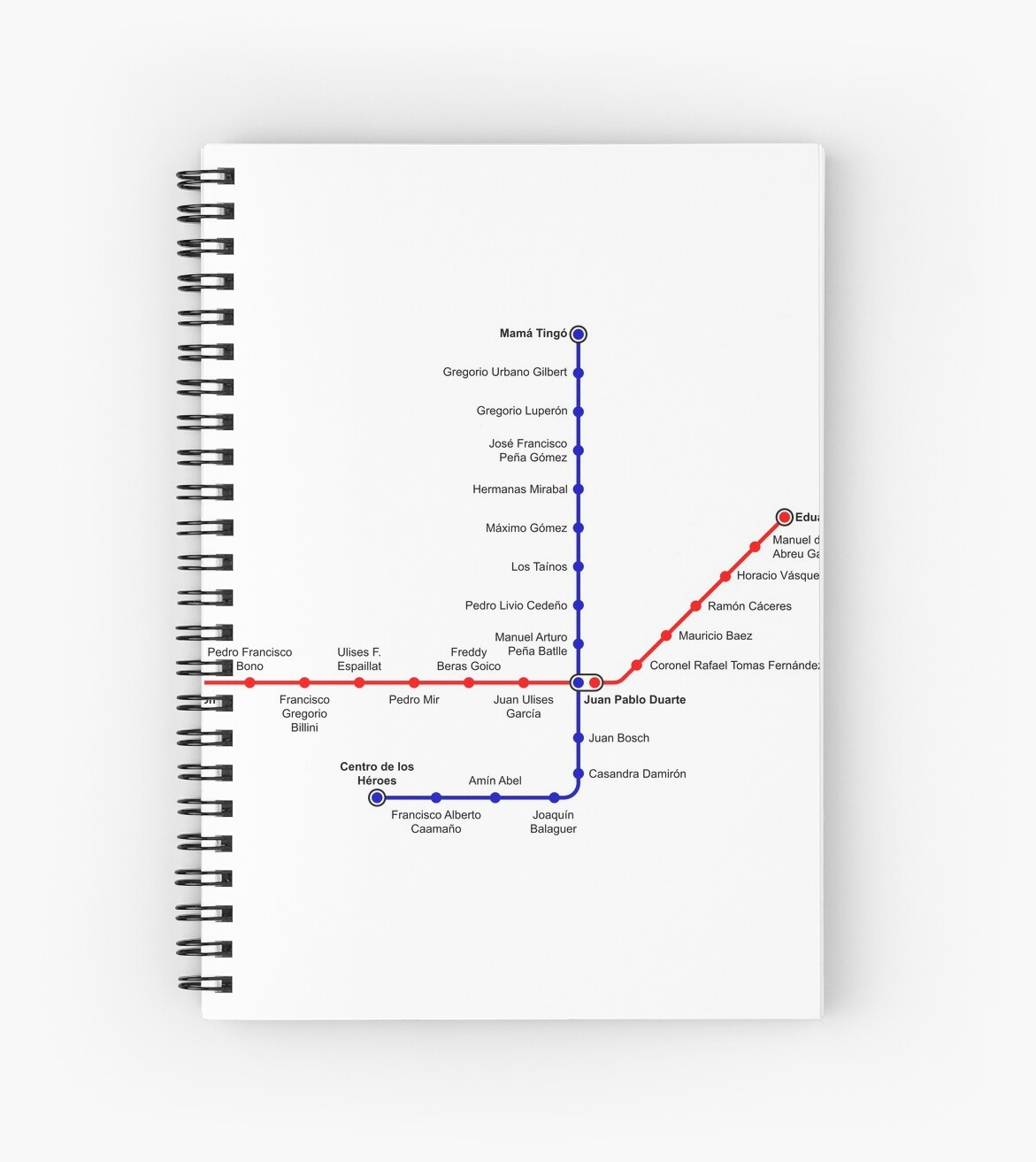 Santo Domingo Metro Map.Santo Domingo Metro Map Dominican Republic Spiral Notebooks By